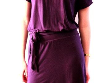 Purple Dress, Low Cut, Long Belt , Dark Plum Color Jersey, Custom