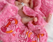 Baby Girl Blanket  - Flamingo Dot- Sorbet Pink Minky Swirl- Personalized/Appliqued - Multiple Sizes