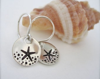 Starfish sterling silver earrings - sterling silver handstamped earrings with starfish design, Hawaii starfish earrings, beachy earrings