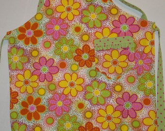 Handmade Full Apron in Green and Pink