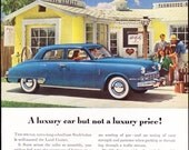 1948 ad Studebaker Land Cruiser classic car automobilia driving auto enthusiast bright blue and yellow advert for framing - Free US shipping