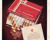 1958 ad Du Maurier Cigarettes vintage smoking tobacciana Mad Men era retro advert for framing / Morris Oxford on back - Free U.S. shipping