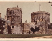 Vintage postcard Round Tower Windsor Castle British royalty royal England historical architecture stonework - Free U.S. shipping