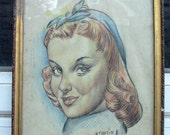 1940s Tootie Cutie portrait original colored pencil drawing framed redhead pinup girl cartoon style Adorable Retro Decor - Free USA shipping