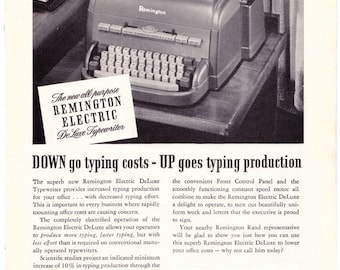 1949 ad Remington Electric DeLuxe Typewriter retro vintage office writer author black and white wall decor for framing - Free U.S. shipping