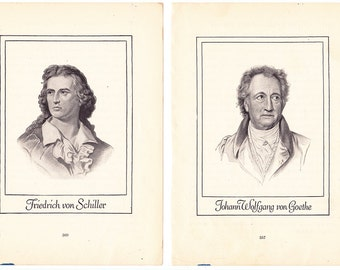 2 small portraits Schiller and Goethe great German poets from 1920 schoolbook Weimar writers authors literary to frame - Free U.S. shipping