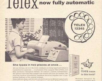 1961 ad Telex machine vintage British office communications technology advert Mad Men era retro wall decor for framing - Free U.S. shipping