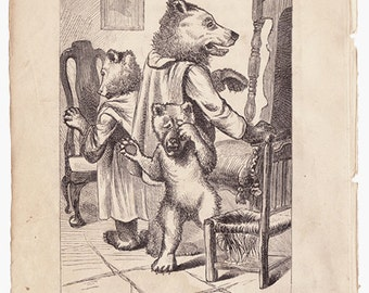 Three Bears with Chairs small page from antique book Victorian fairy tale illustration odd and beautiful for framing - Free U.S. shipping