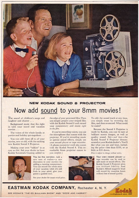 1961 ad Kodak Sound 8 Projector vintage family home movies 8mm Mad Men era - Free U.S. shipping