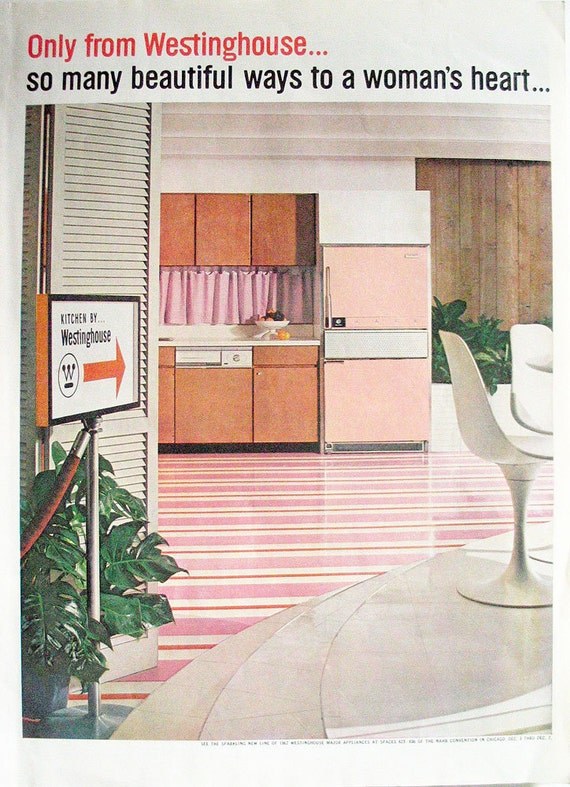 Early 1960s ad Westinghouse model kitchen pink refrigerator retro advert Mad Men era - Free U.S. shipping