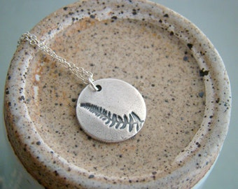 Petite art clay silver fern leaf necklace, bridesmaid necklaces, wedding gift sets ,metal clay, botanical eco friendly
