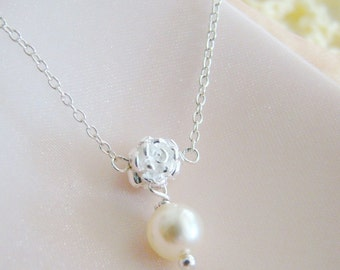 Bridesmaid's necklace, sterling silver rose spacer swarovski pearls necklace, wedding gifts, bridesmaid jewelry, maid of honor, for wife