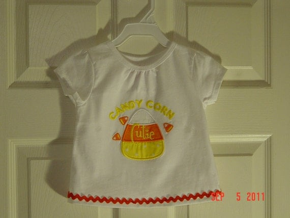 Little Girls 18mo Shirt with Candy Corn Applique with Orange Ric Rac