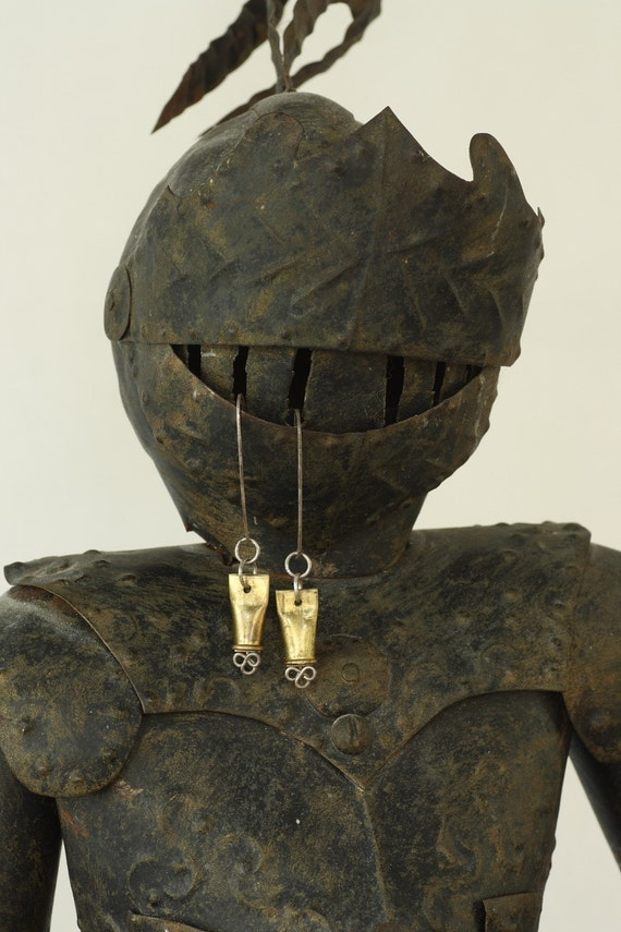 A Medieval Crush - Crushed Bullet Shell and Filigree Earrings by Prairieoats