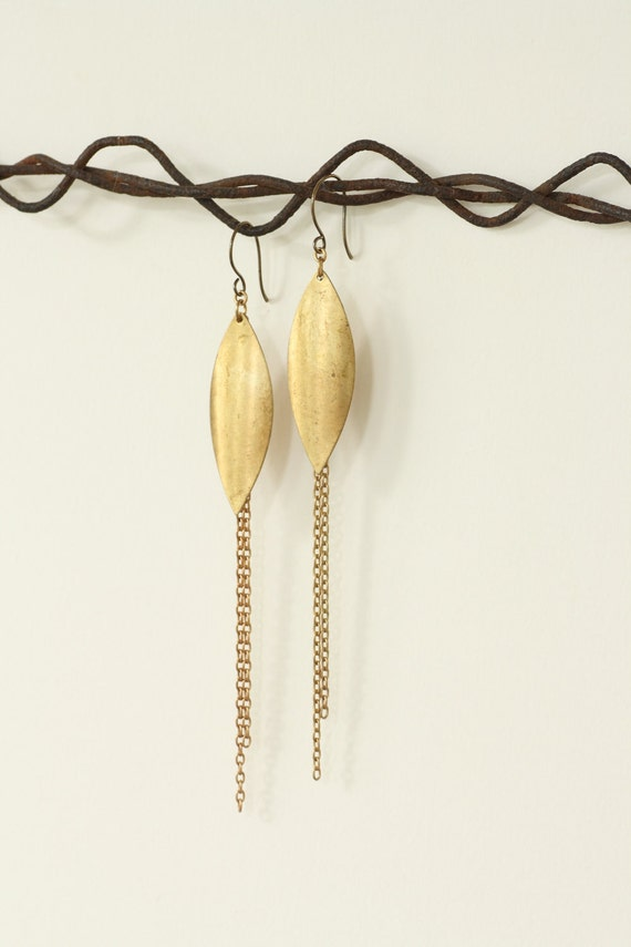 Petal and Vine Brass Fringe Earrings by Prarieoats