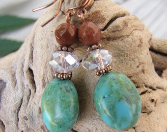 Turquoise, Crystal and Goldstone Copper Earrings