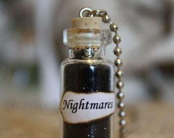 Glass Vial Necklace - Nightmares - Halloween Jewelry