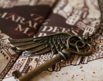 Flying Key Necklace - Steampunk Necklace