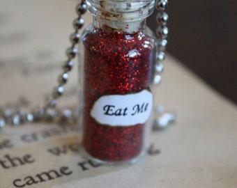 Alice in Wonderland Eat Me Vial Necklace