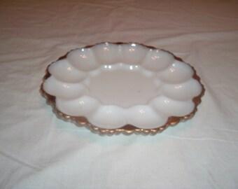 milk glass egg plate etsy