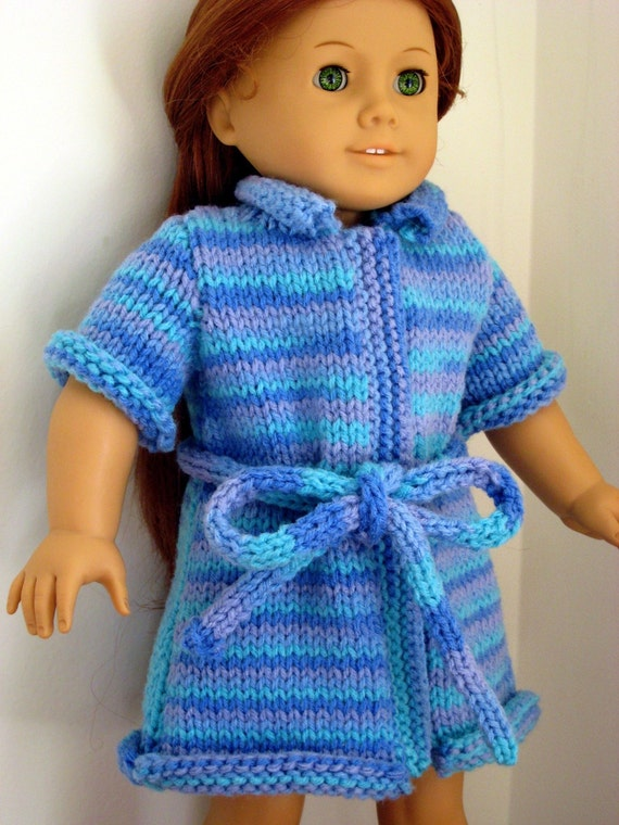 Knitting Patterns For 7 Inch Dolls : PDF KNITTING PATTERN Bath Robe for American Girl Doll and 18