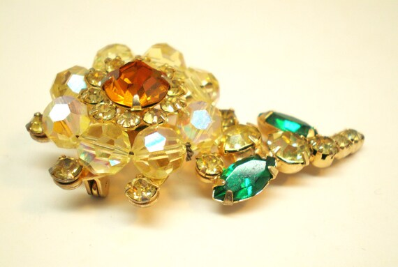 Vintage Brooch Pendant Pronged Rhinestones AB Beads Marquis Champagne Tangerine Orange Emerald Green Statment