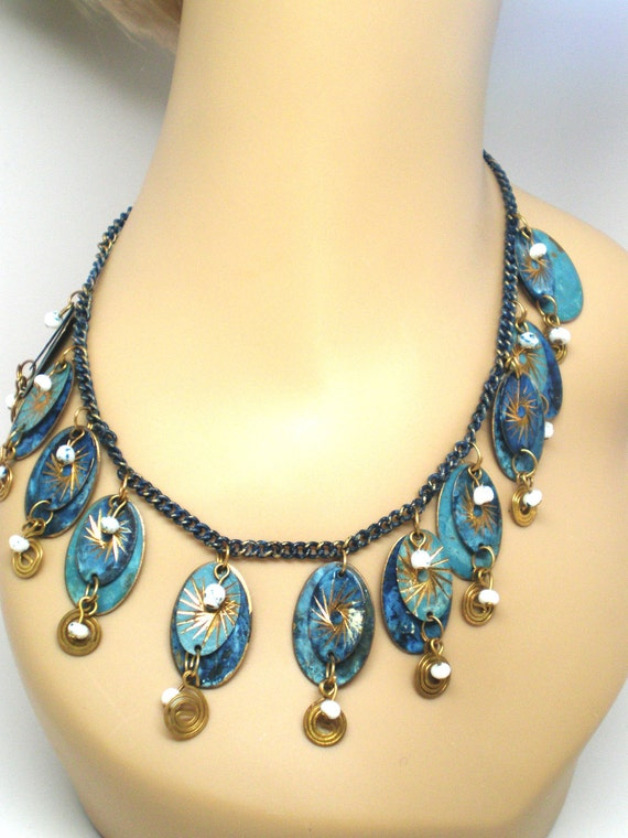 Vintage Necklace Brass Bib Charms Bangles and Dangles Blue Swirls and curls 70s Hippie Statement