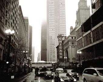 Chicago photography, chicago print, magnificent mile, urban art, large wall art print, bedroom decor, kitchen decor, home decor, sepia