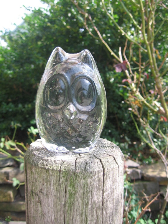Vintage Adorable Solid Glass Owl