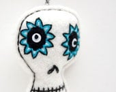 Whimsical Skull ornament, white felt with hand embroidery, Christmas ornament