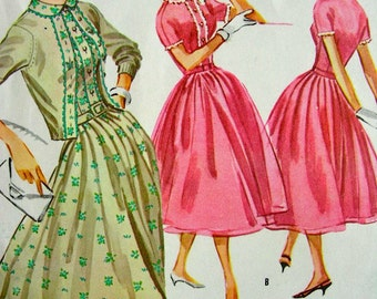 Vintage McCall's  50's  Dress with Trim Sewing Pattern 4119 -  UNCUT - size 12/32
