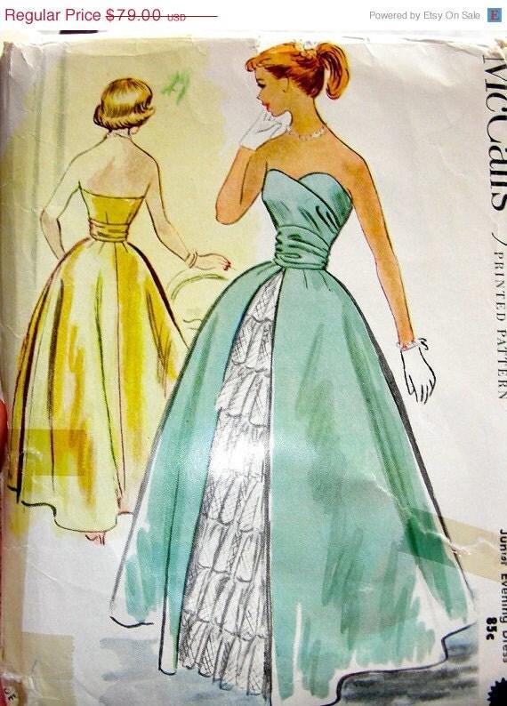 ON SALE Vintage 1950's McCall's Strapless  Jr. Evening Dress Pattern 9169 / UNCUT / size 15