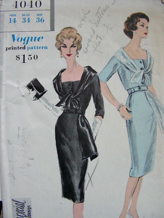 1950's VOGUE Special Design Sewing Pattern 4040 - GORGEOUS Ladies Evening Cocktail Dress - Size 14 Bust 34