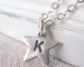 Silver Star Necklace, Silver Initial Necklace,  Personalized Necklace,  Monogrammed  Jewelry, Star Pendant, PMC Silver Jewelry, Little Star