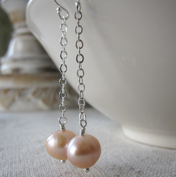 Pink Pearl Earrings, Freshwater Pearl Earrings, Sterling Silver Earrings - Blush