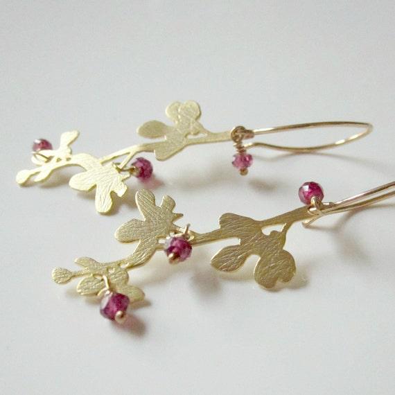 Cherry Blossom Earrings, Gold Earrings, Garnet Earrings, Gold Branch Jewelry