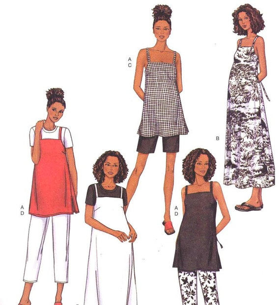 Butterick 3403 Maternity Sewing Pattern Summer A Line Top or Dress and Pants or Shorts Bust 36 to 40