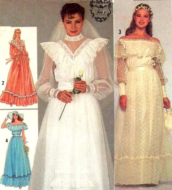 Vintage 1980s Gunne Sax Wedding Dress Sewing Pattern Woodland