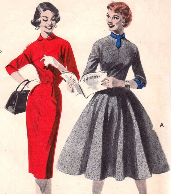 1950s Quick and Easy Turtleneck Dress Full Circle or Slim Skirt Vintage Sewing Pattern Butterick 7474--Bust 34