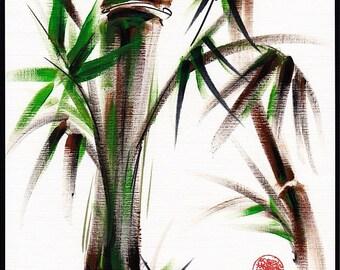 MOTU   Original Japanese sumi-e bamboo painting
