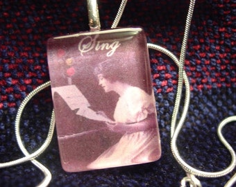 Music Lady glass necklace Pendant with snake chain necklace