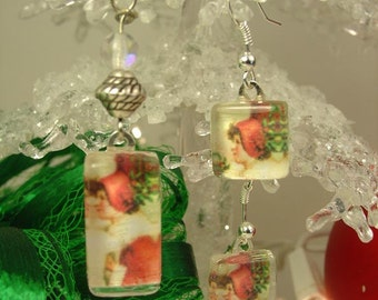 Holly Girl Glass Petite Pendant Necklace and Earrings