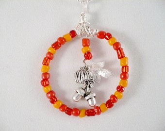 Autumn Necklace Wire Wrapped Glass Beaded Charm Circle Antique Silver acorns pumpkin and oak leaf