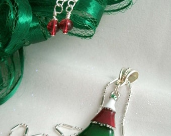 Christmas Tree Enamel coated Pendant Necklace with Red Glass Bead Earrings