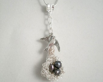 Blue Fresh Water Pearl Birds Curly Wire nest with Bird