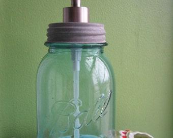 Blue Mason Ball Quart Jar Upcycled Soap Dispenser
