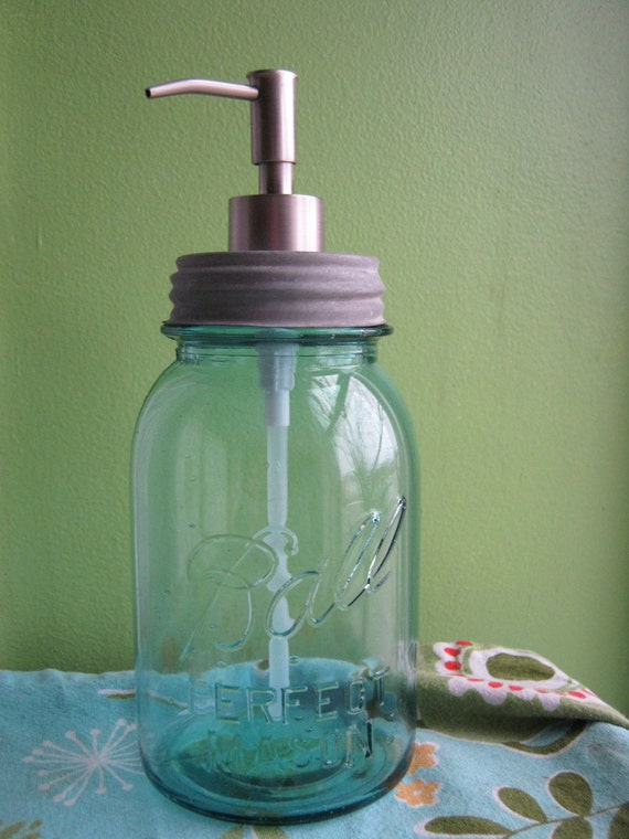 Blue Mason Ball Quart Jar Upcycled Soap Dispenser