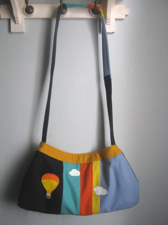 Upcycled Purse with Hot Air Balloon made from a Vintage Striped Wool Skirt