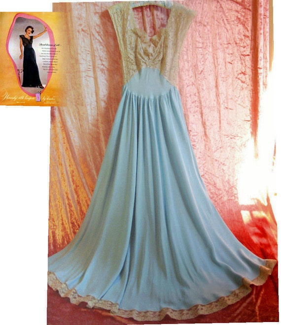 Fischer Heavenly Silk Lingerie 40s Bias Aqua Blue Nightgown Wedding Trousseau Bridal Boudiour Gown Old Stock Bust 32