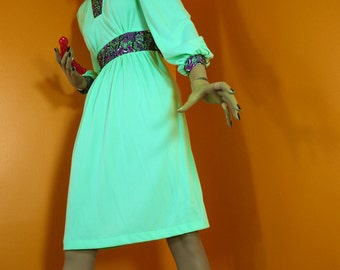 70s Prairie Dress / Knit Prairie Dress